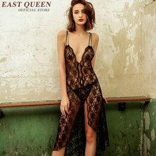 Black lace nightgowns women nightwear sexy nightdress font b lingerie b font see through sleepwear deep