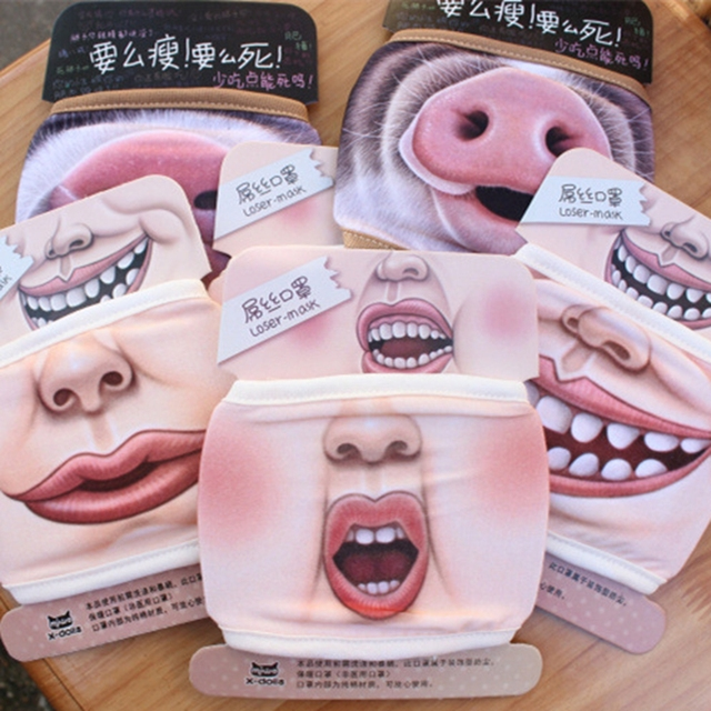 1Pc Villain Joke Masks Funny Expression Pig Lower Half Face Cotton Face Mask Festive Christmas Masquerade Party Cosplay Supplies