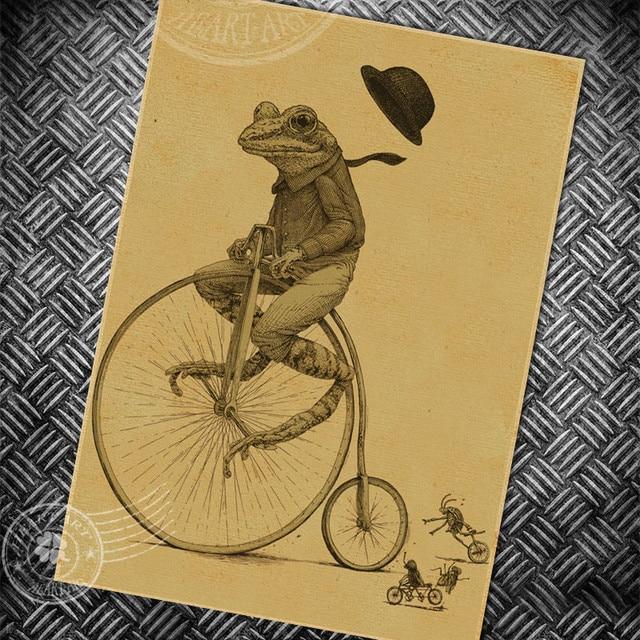 Freee ship Frog bike vintage poster retro old painting bar club ...