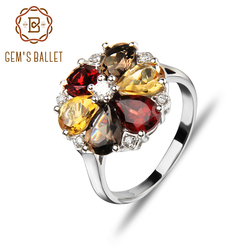 GEM'S BALLET 925 Sterling Silver Citrine Garnet Smoky quart Rings 4ct Classic Engagement Fine Jewelry for Women Gemstone Ring