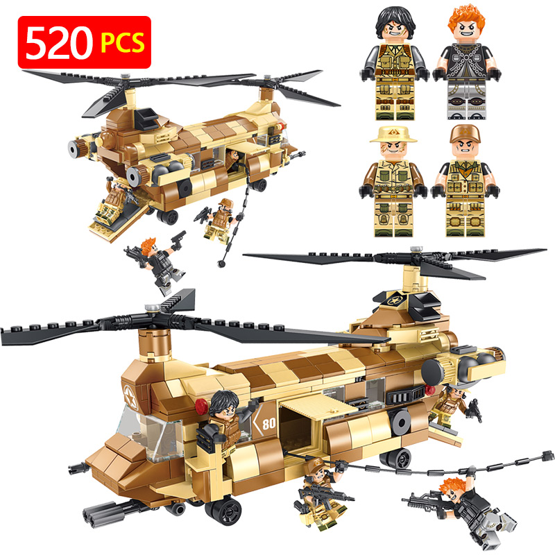 Hot Military Blocks Set Compatible LegoINGLY CH-47 Helicopter Chinook Action Figures Toys Eductional Toys For Kids 12pcs set children kids toys gift mini figures toys little pet animal cat dog lps action figures