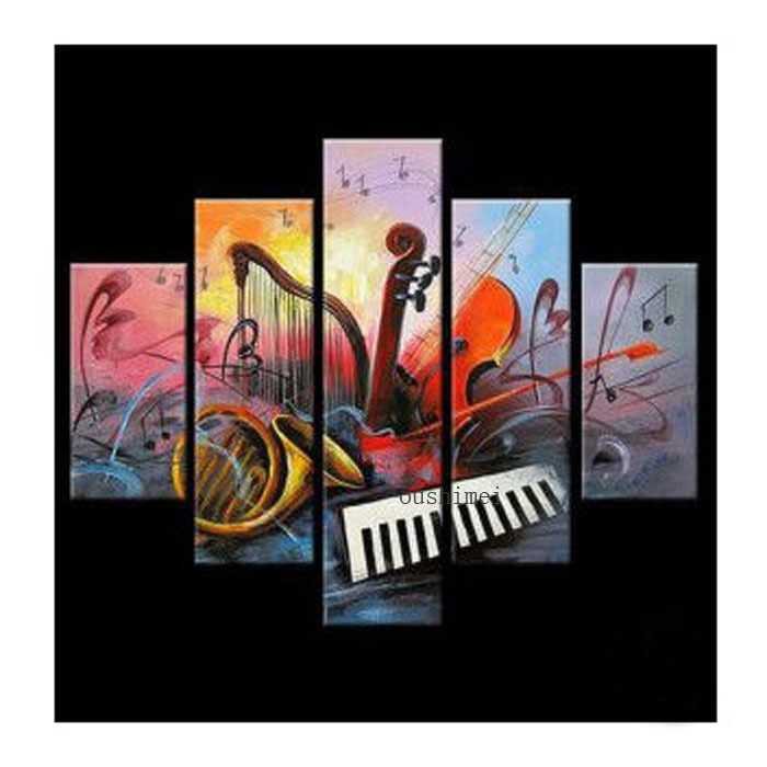 100% Hand Painted Hand Painted 5 Piece Oil Painting On Canvas Wall Art Musical Instruments Picture For Living Room