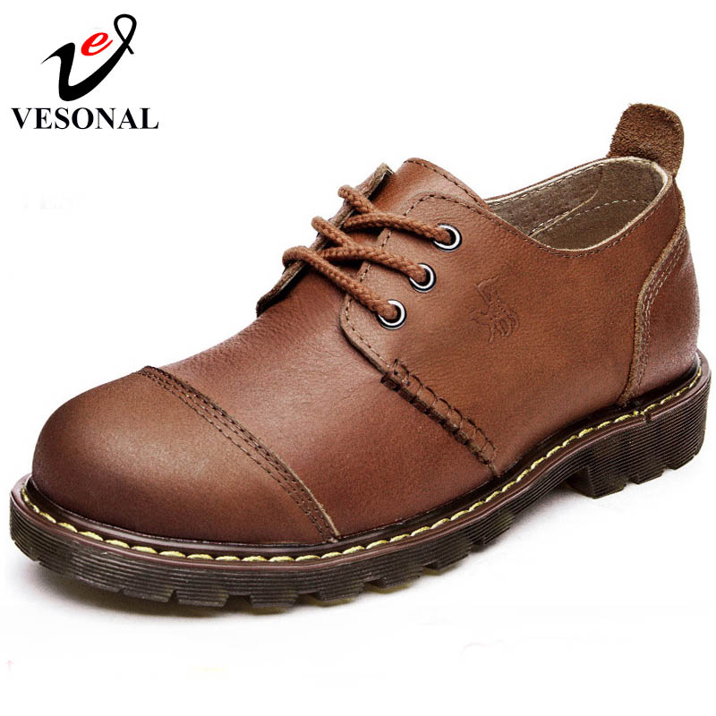 VESONAL Hot Sale 2017 Genuine Leather Brand Tooling Casual Shoes Men High Quality Footwear Man Shoes
