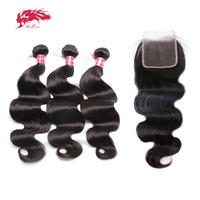 Ali Queen Hair Products 3pcs Brazilian Body Wave Virgin Hair With A Lace Closure Free Part Pre Plucked Natural hairline