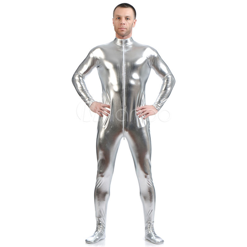 High Quality Adult/Children Mens Halloween Shiny Metallic Cosplay Costumes Men Male Silver Zentai SuperHero Costume Suit 6 Color