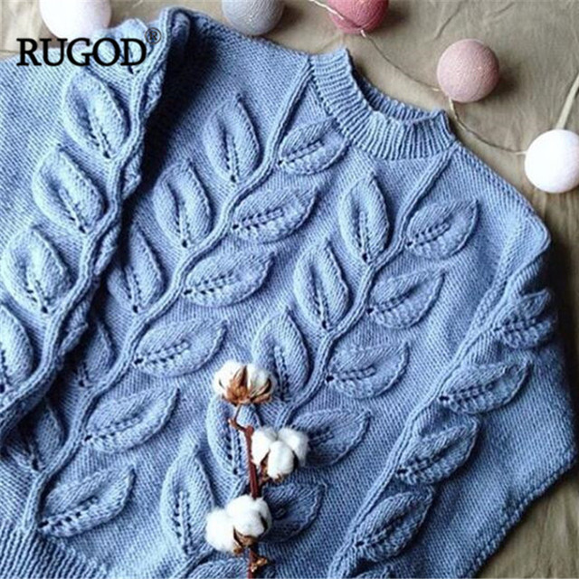 Leaves Pattern Long Sleeve Knitted Sweater 4