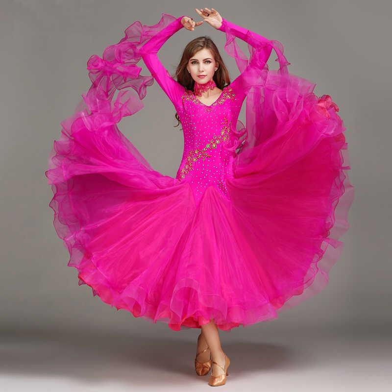 Бальное платье, для вальса платья для бальных танцев Стандартный для соревнований Стандартный Танцы платье женщина Синий Блестки Вальс платье фокстрот