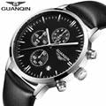 2016 top marca de lujo guanqin nuevos relojes de cuarzo de los hombres correa de cuero reloj de pulsera masculino estilo casual reloj con calendario circular