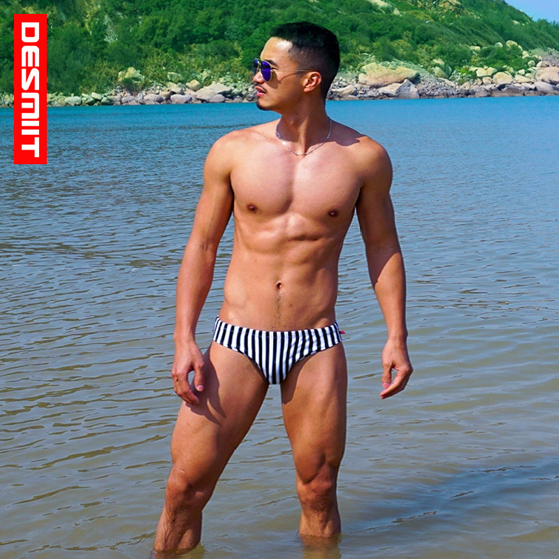 DESMIIT Sexy Men Swimming Trunks Surfing Bermudas Striped Swim Shorts Swimwear Swimsuits Bathing Suit Plavky Zwembroek Badpak
