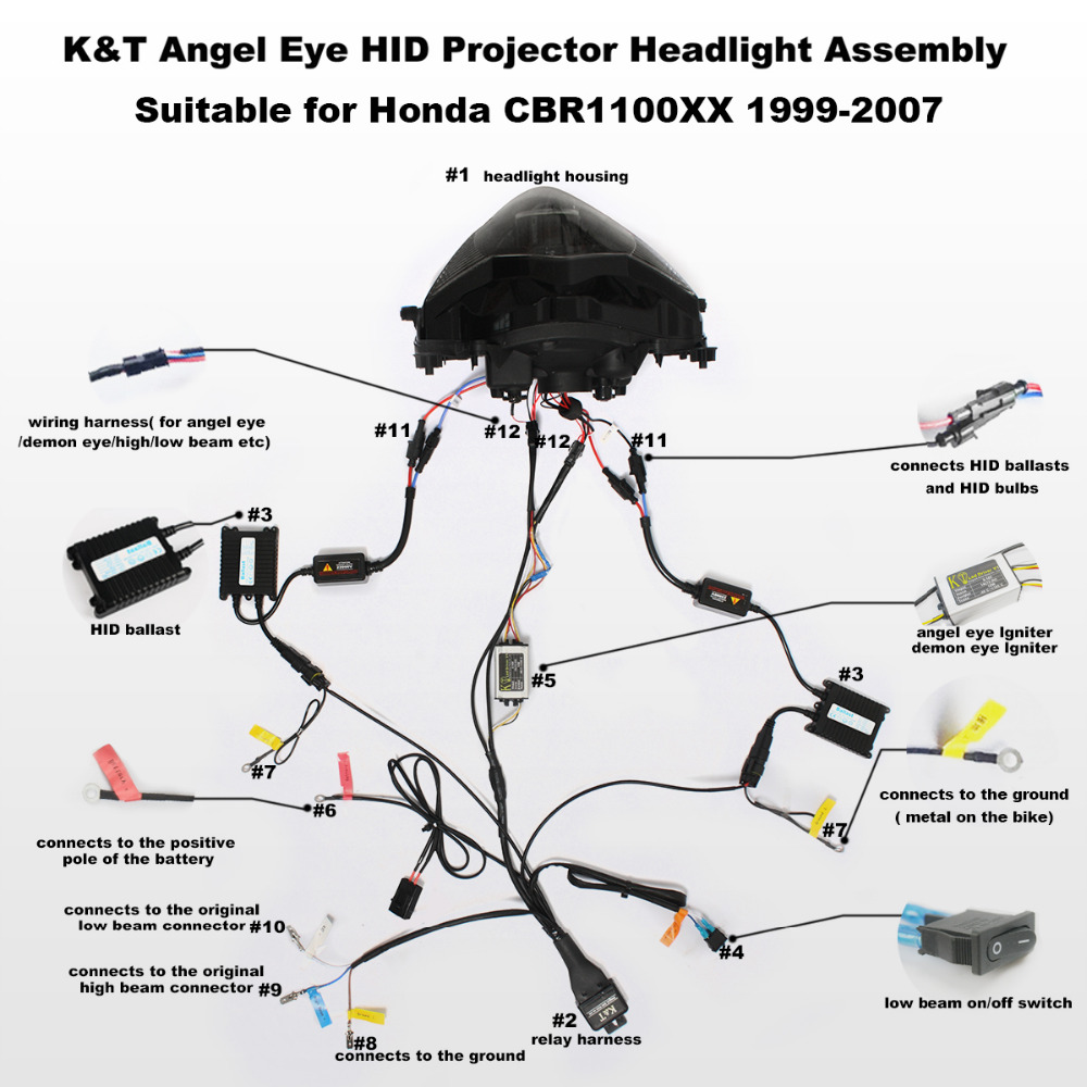 Honda Motorcycle Hid Headlight Wiring Diagram Kt For Cbr1000xx 1999 2007 Led Angel Eye Projector Assembly 00 01 02 03 04 05 06 On Alibaba Group