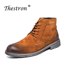 New Cool Working Boots for Men Brown Black Casual Brand Rubber Sole Work Boot Hard-Wearing Footwear Male Youth