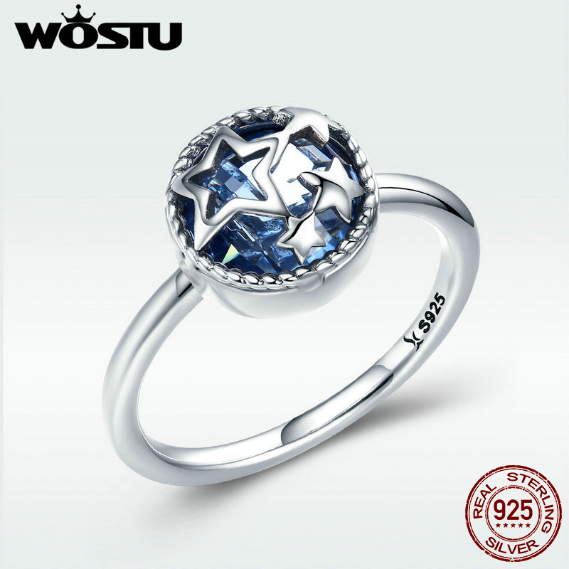 WOSTU Authentic 925 Sterling Silver Dazzling Star Blue Crystal CZ Finger Rings for Women Wedding Engagement Jewelry Gift BKR290