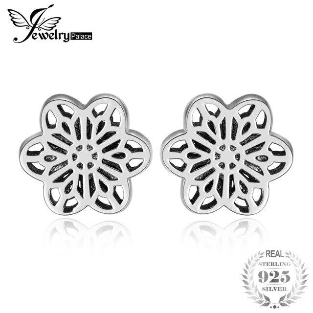 Jewelrypalace Genuine 925 Sterling Silver Beautiful Flower Stud Earrings For Women Party New Trendy Silver Earrings Fine Jewlery