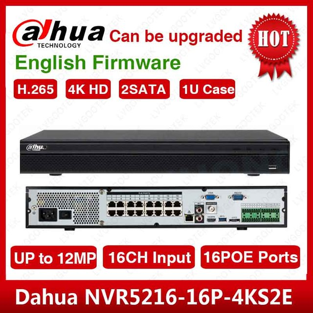 DHL Shipping  Dahua Original English NVR5216 16P 4KS2 H.265 16CH 1U 16PoE Ports 4K Network Video Recorder  NVR5216 16P 4KS2E