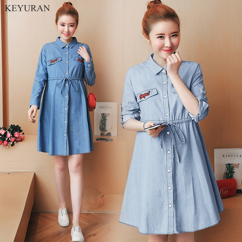 2018 New Spring Autumn Denim Maternity Dresses Long Sleeve Women Single-breasted Lace-up Plus Size Jean Pregnancy Clothes L016 plus size lace panel long sleeve peplum blouse