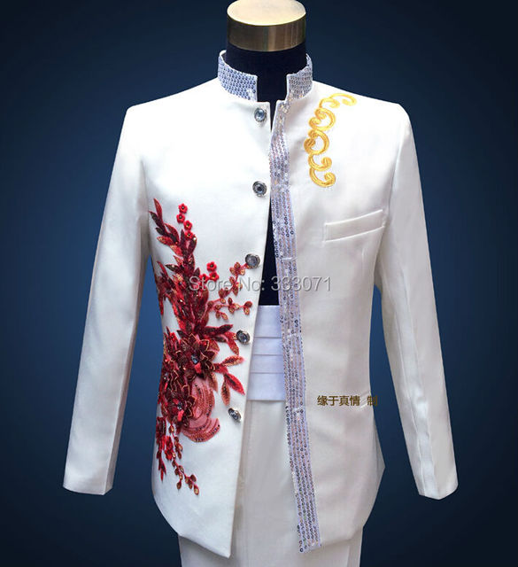 Custom made stand collar Men\'s Suits Red applique Groom Tuxedos ...