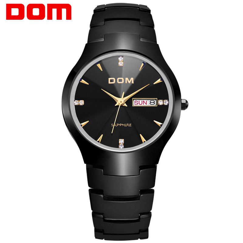 Men watch DOM Top Brand Quartz watches Business tungsten steel strap 30m waterproof Fashion Casual Complete Calendar clock W-698 dom men watch top luxury men quartz analog clock leather steel strap watches hours complete calendar relogios masculino m 11 page 9