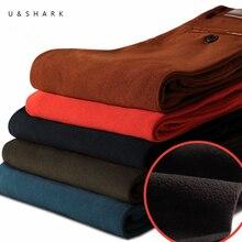 U & SHARK 2016 Herbst Winter Dicke Fleece Cord Männer Hosen Modekleidung Qualität Warme Hose Männer Marke Männlichen Casual hosen