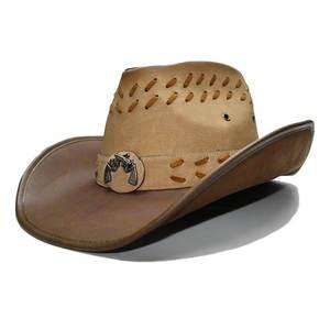 LUCKYLIANJI Women s Men s Leather Cowboy Western Hat eb82bbd29bf1