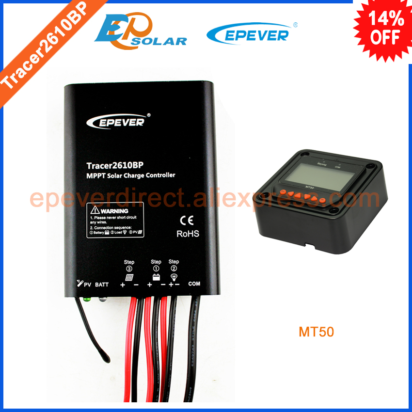 12v 10A 10amp solar mppt regulator with MT50 remote meter,MT50 not apply to lithium battery Tracer2610BP mppt 20a solar regulator tracer2210a with mt50 remote meter and temperature sensor