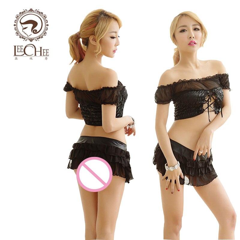 Discreet Leechee Q742 Vrouwen Sexy Lingerie Babydoll Voile Patchwork Latex Pu Lederen Vest + Mini Rok Erotische Ondergoed Porno Kostuums