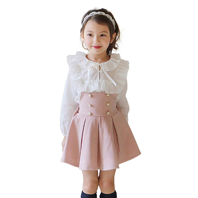 8785780e28ea 2017 conjuntos de ropa para niños niñas vestido + Camiseta de encaje 2  piezas conjunto princesa bebé niña otoño nueva ropa coreana para los niños  de ...