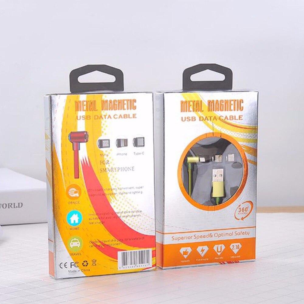 3 в 1 данных зарядного шнура для кабель Lightning <font><b>iPhone</b></font> Магнитная угол <font><b>90</b></font> градусов Micro USB Type-C Android мобильного телефона 100 шт./лот 2A