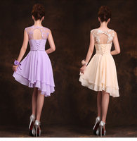 2017 New Arrival Formal Dress Backless Lace Up Homecoming Dress Short Design Lace Champange Bandage Irregular