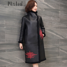 Ptslan 2016 Women s Real Lamb Fur Full Pelt Long Sleeve Jacket Long Coat