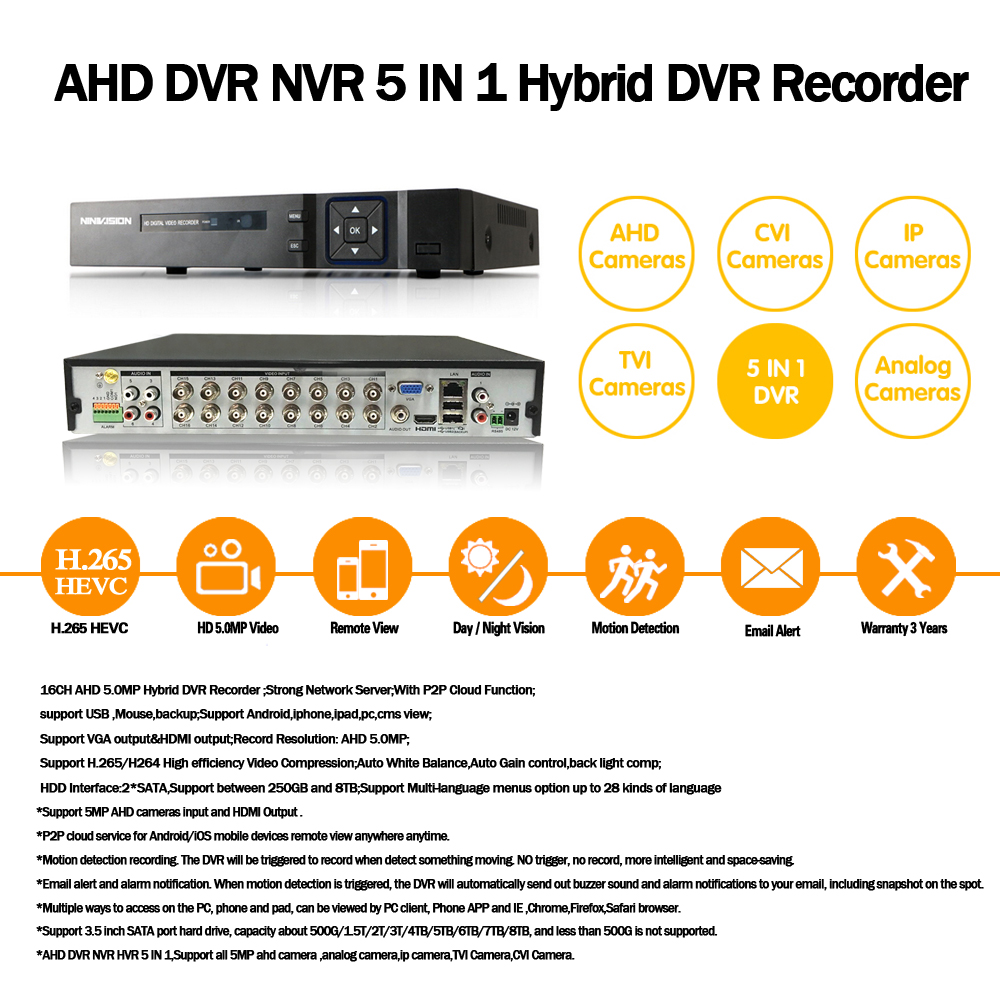 Image 2 - 16 Channel AHD DVR 5MP DVR 16CH AHD AHD 5MP NVR Support 2560*1920P 5.0MP Camera CCTV Video Recorder DVR NVR HVR Security System-in Surveillance Video Recorder from Security & Protection