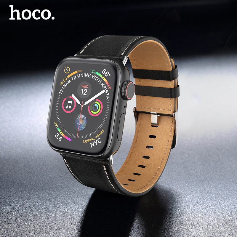 HOCO Watch Accessories Watchband For Apple Watch Band 44mm 40mm 42mm 38mm Series 5 4 3 For IWatch Genuine Cow Leather Watchbands