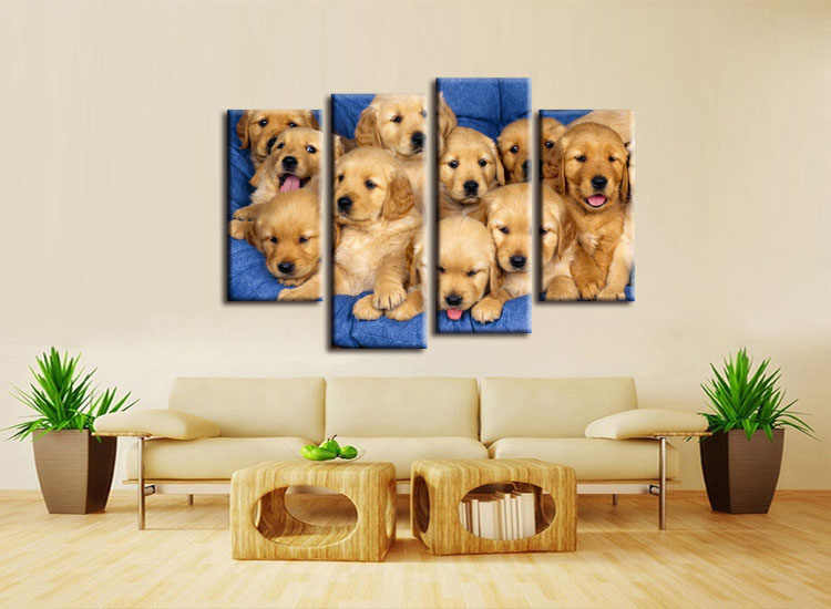 4 pieces / set  labrador puppies  dogs poster  print wall sticker Wall Decor painting custom print