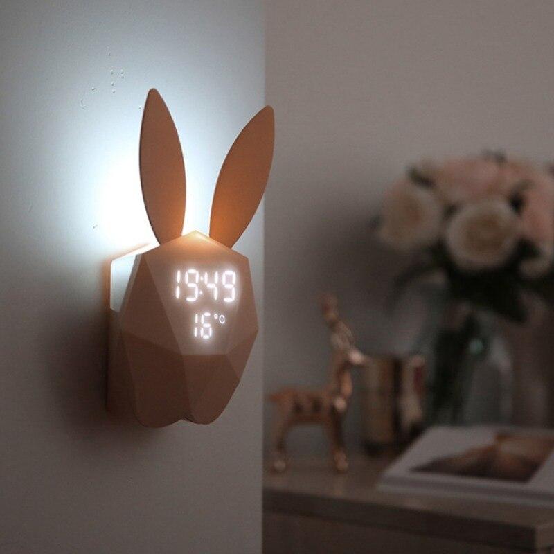 Cute Rabbit Shape Digital Alarm Clock LED Sound Night Light Thermometer Wall Light Rechargeable Table Wall Clocks