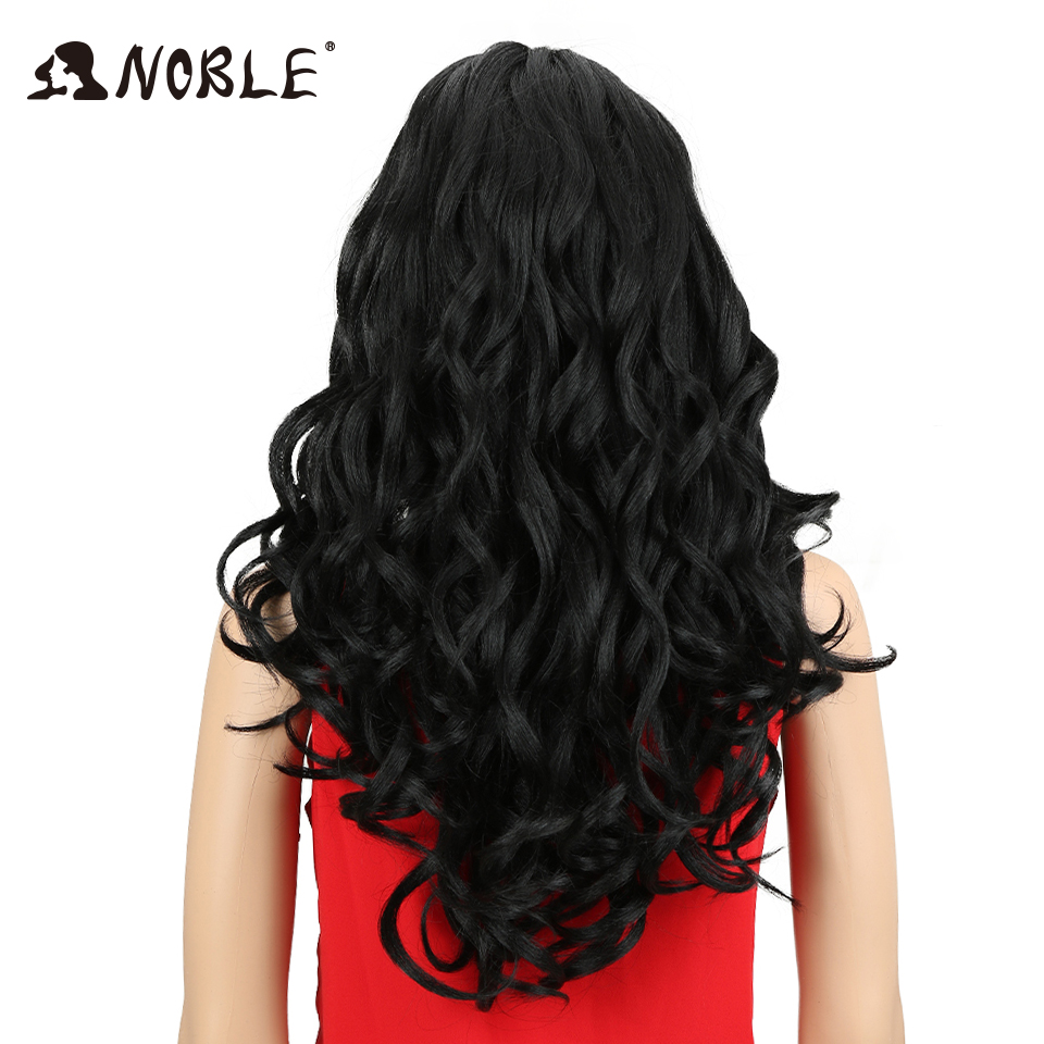 Noble Synthetic Wigs For Black Women Soft Wig 24 Heat Resistant Fiber Hair Lace Front Wig Long Loose Wavy Middle Parting Hair