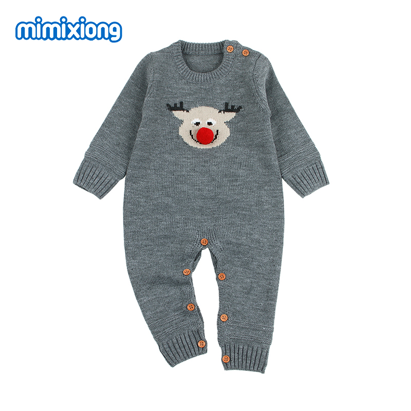 Newborns Baby Christmas Rompers Autumn Full Sleeved Toddler Girls Jumpsuits Cute Reindeer Knitted Infantil Boys Animal Costumes
