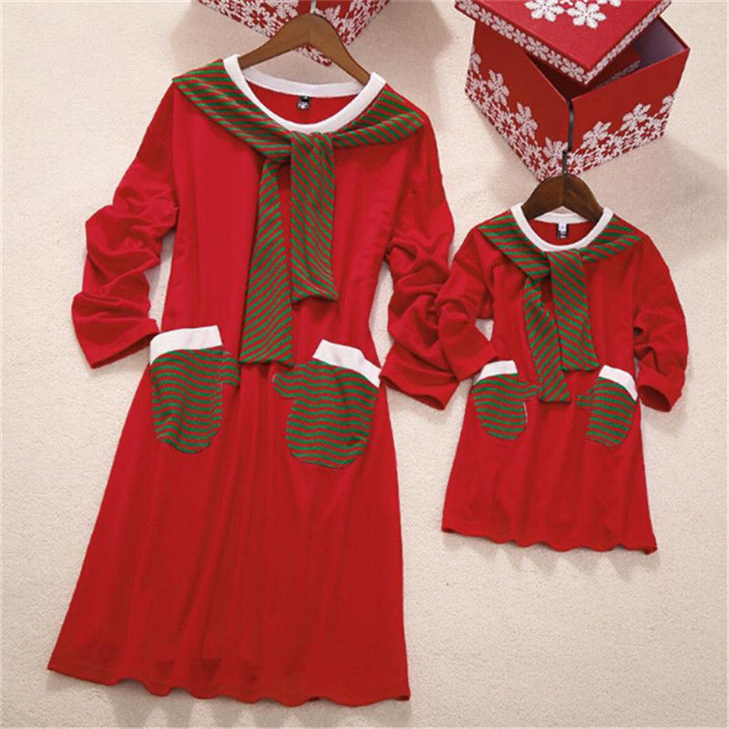 Christmas Mother Daughter Dresses Mom And Daughter Dress Eleagnt Xmas Family Matching Clothing Long Sleeve Girls Princess Dress