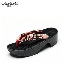 a411f480 WHOHOLL sandalias de las mujeres zuecos de madera Floral Sandalias con  tacón de cuña plataforma sandalias de mujeres japonesas G..