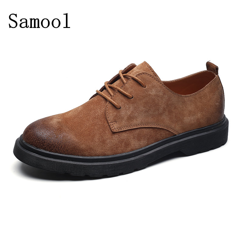 2017 Autumn Winter Men Genuine Leather Oxfords Shoes Businessman Suede Casual Loafers for Men Flats Shoes Classic Martin Shoes top brand high quality genuine leather casual men shoes cow suede comfortable loafers soft breathable shoes men flats warm