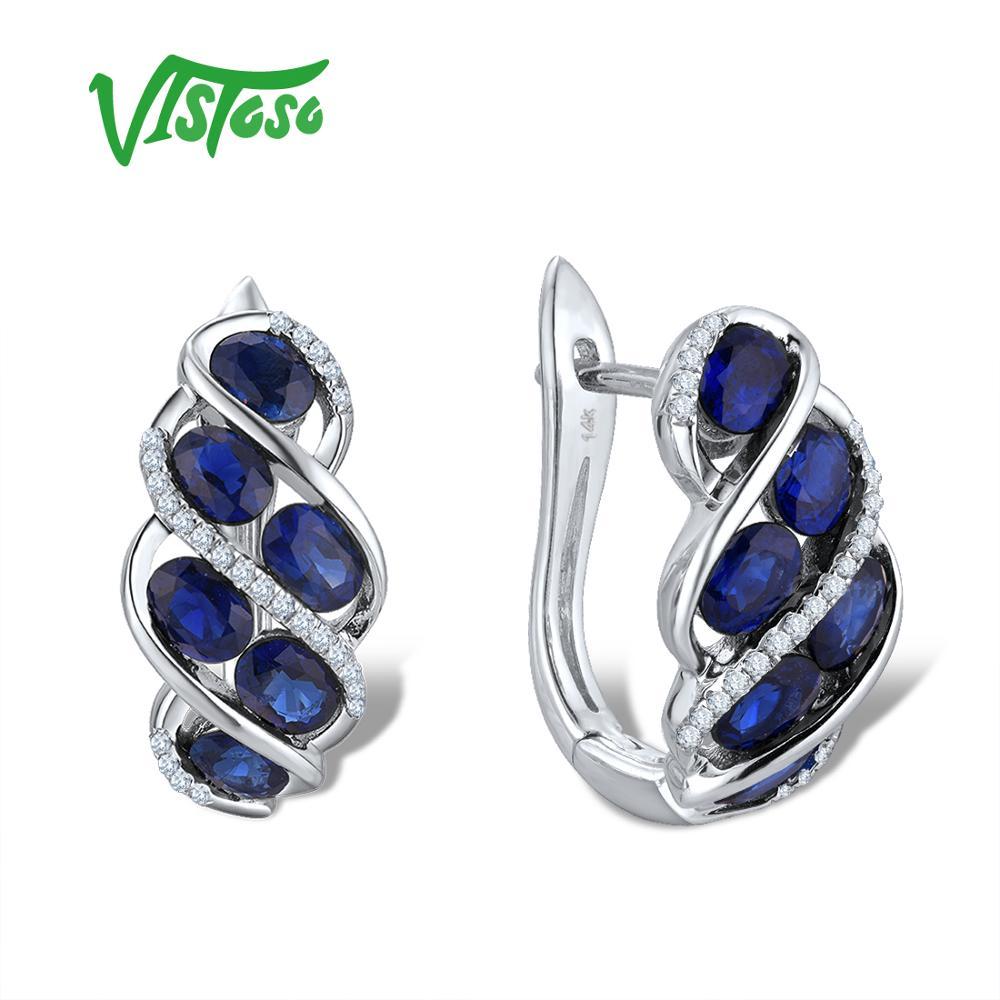 VISTOSO pur 14K 585 or blanc luxe bleu saphir brillant diamant boucles d'oreilles pour femmes anniversaire mariage élégant Fine bijoux