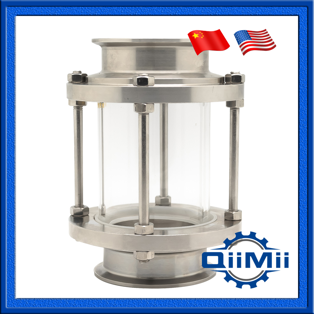 Sanitary Stainless Steel Flow Inline Sight Glass Diopter Tri Clamp End Homebrew SS304 1 21/2