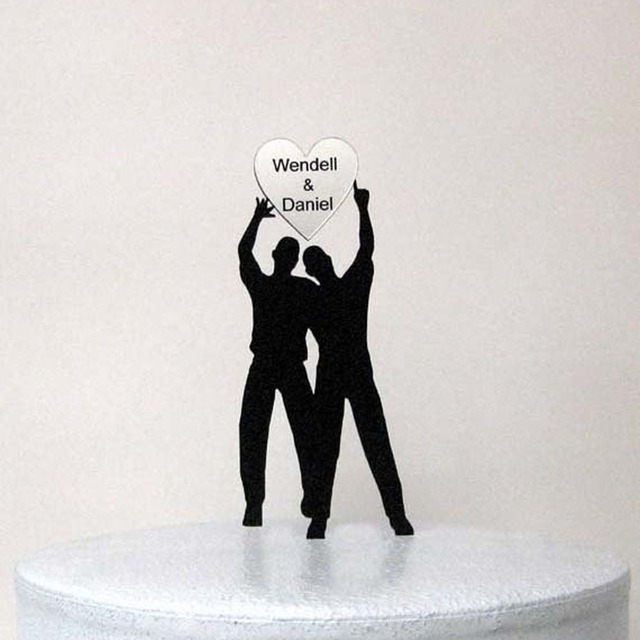 Personalized Wedding Cake Topper Same Sex Wedding,Gay Wedding With  Personalized Names On Silver Heart