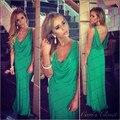 3370 S venta Caliente Simple longitud Elegante Piso de La Envoltura larga de espalda sexy baile vestidos largos 2017 verde