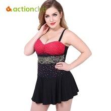 Actionclub falda más el tamaño de trajes de baño para las mujeres traje de baño de swimdress traje de baño bikini mujeres 2016 de una sola pieza ws495