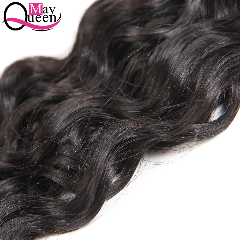 May Queen Hair Brazilian Water Wave Bundles With Lace Closure Free Part Cuticle Aligned Hair Non Remy Hair Weave Extension Weft