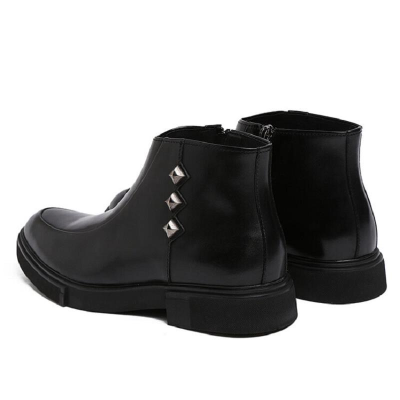 Winter Schwarzes Männer wein rot Hombre Komfortable Neue Schwarz Trend Botines Qualität Nieten Stiefeletten Leder Schuhe Northmarch Stiefel Bzqpxw55
