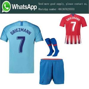 b5844fb0481 spain 18 19 atletico madrided soccer jersey 2018 2019 griezmann koke gabi  saul carrasco adult suit