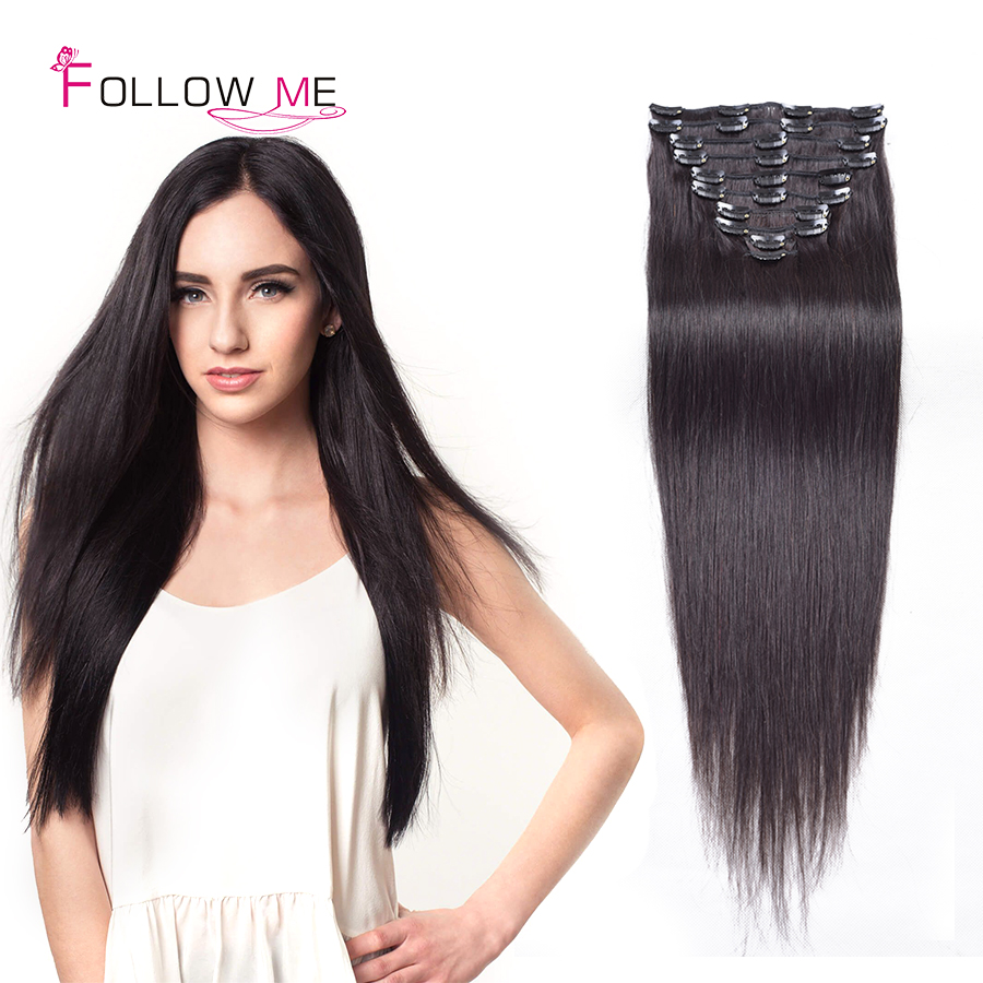 #1B Indian Remy Clip Hair 7pcs/set 70g 100g 120g Soft Clip In Human Hair Extensions 8-32 Good Quality Straight Clip Hair