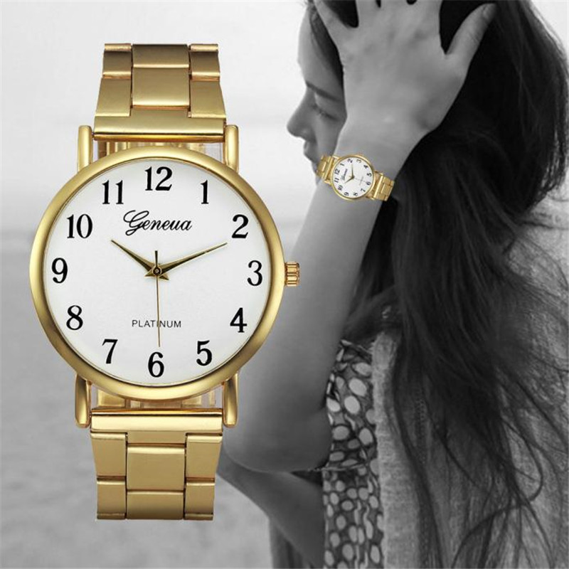 Luxury Brand Gold Women Watches Stainless Steel Ladies Quartz Wristwatch  Bracelet Watch Digital Casual Dress Clock Gift Hot #B