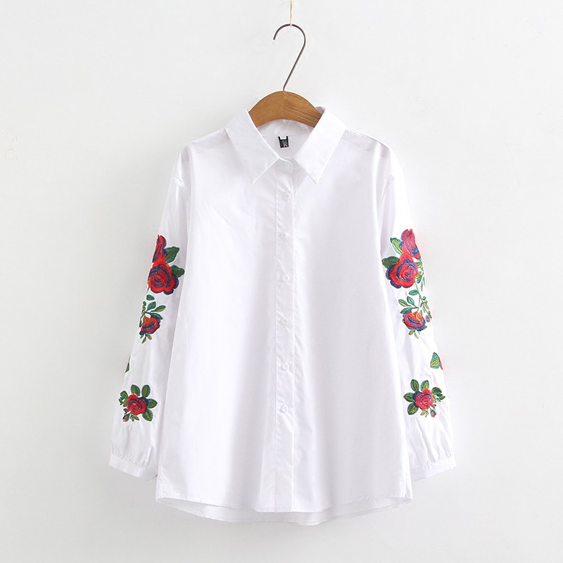 Blusas femininas 2019 moda bordado manga longa turn down collar escritório camisa chiffon blusa casual tops plus size