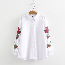 Women Blouses 2019 Fashion Embroidery Long Sleeve Turn Down Collar Office